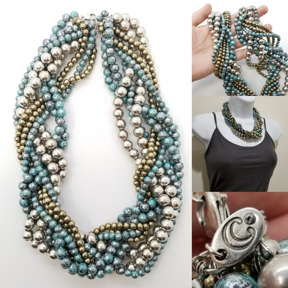 Chunky Gorgeous Braided Multicolored Necklace